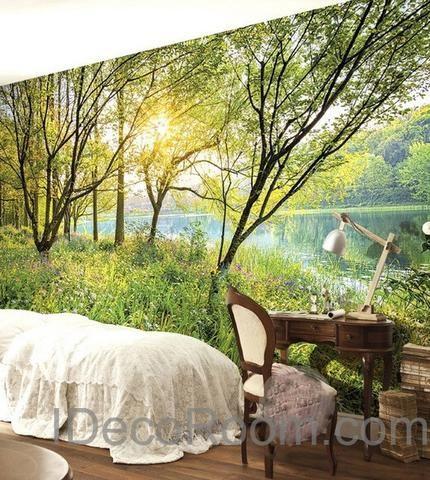 3D Riverside Trees Sunrise Wall paper Wallpaper Wall Decals Wall Art ...