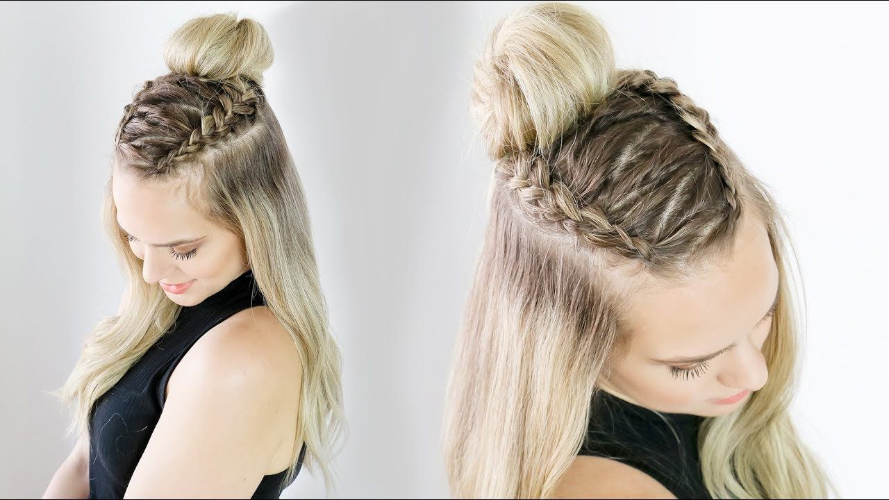 Zig Zag Half Updo On Long And Short Hair Kayleymelissa Youtube Short Hair Styles Short Hair Hacks Half Updo Hairstyles