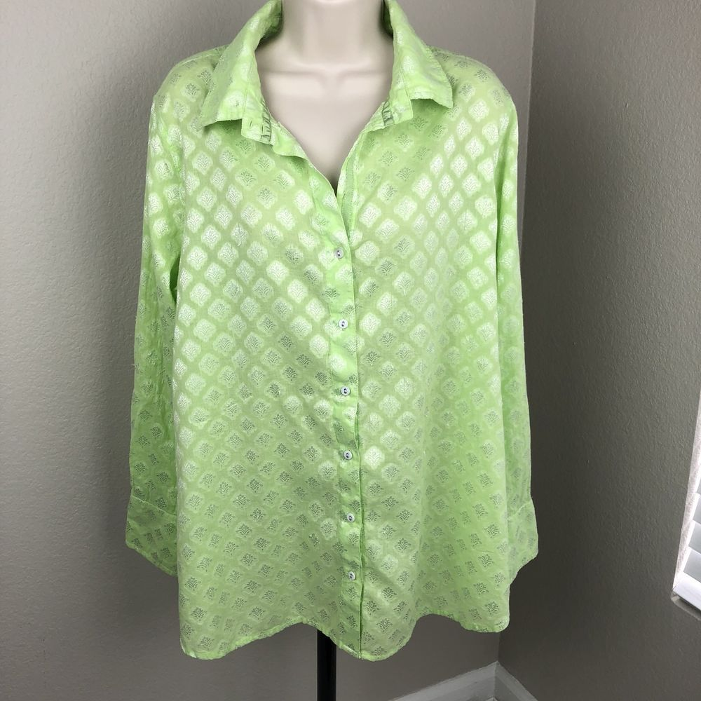 Soft Surroundings Blouse Womens Size Large Green Embroidered Long