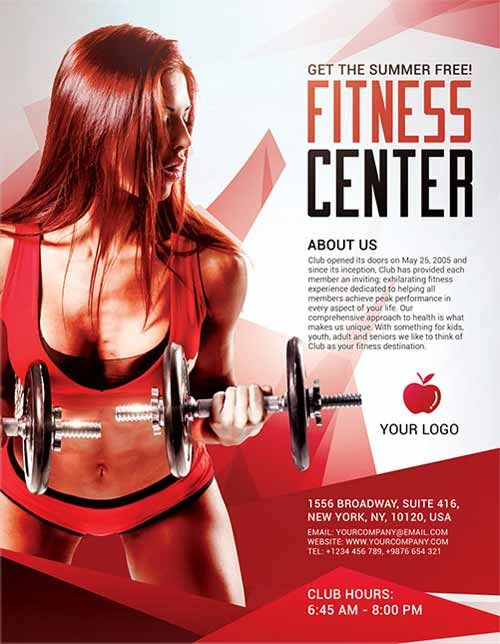 Fitness Center Sports Free Flyer Template -    freepsdflyer - free sports flyer templates