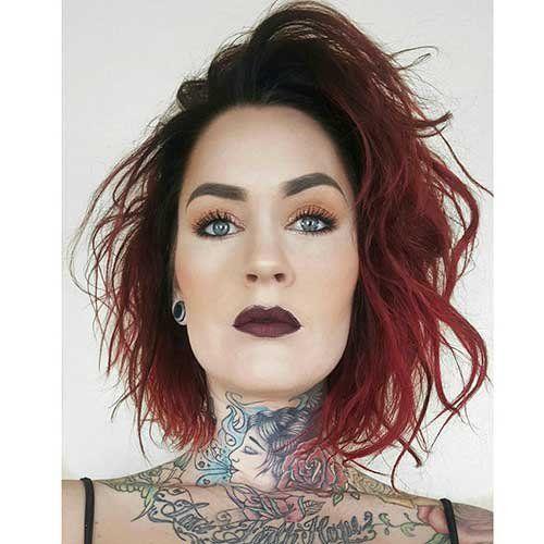 Fantástico Curto Vermelho Ombre Penteado - http://bompenteados.com/2017/11/10/fantastico-curto-vermelho-ombre-penteado