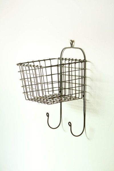 Wire Basket Designed To Hang On The Wall With Two Hooks On The Bottom Works Great In The Kitche Wire Wall Basket Baskets On Wall Contemporary Kitchen Decor