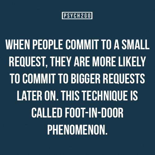 Foot In The Door Phenomenon Psychologicalfactsnarcissist In 2020 Psychology Quotes Psychology Says Psychology