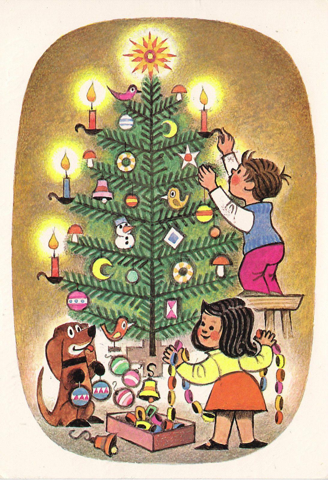 Weihnachten Kinder Und Dackel Schmucken Den Weihnachtsbaum 1975 Retro 2 Retro Children S Book Illustration