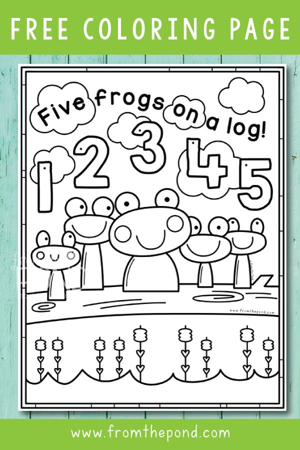 5 Frogs On A Log Math Crafts Free Coloring Pages Coloring Pages