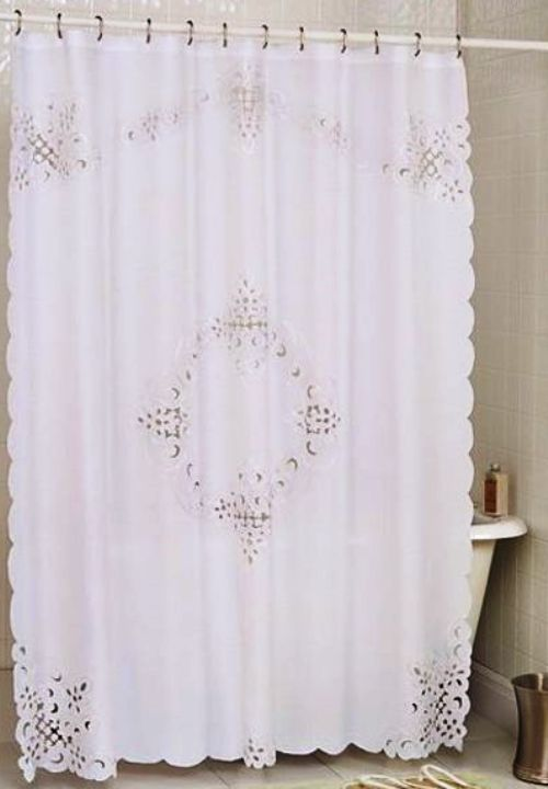 PRISTINE WHITE BATTENBURG OPEN LACE FABRIC SHOWER CURTAIN 70 X 72 NEW