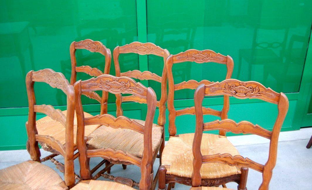 Sedie Francesi Provenzali : 6 sedie provenzali in noce seduta in paglia scolpite con coppa e