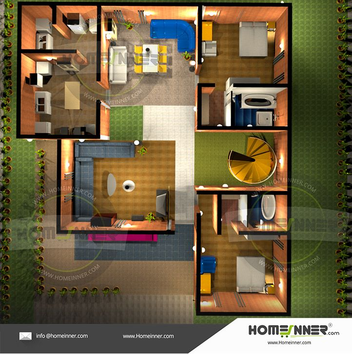 Free Low Cost 2 Bedroom 3d Floor Plan House Plan Indian Home Design House Plans Kerala House Design