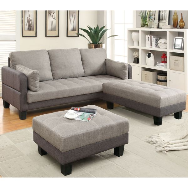 Best Deals On Living Room Furniture: Furniture Of America Oneka Taupe Grey 3-piece Convertible