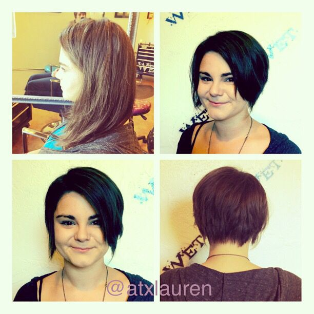 Before and after haircut from long to a short cropped style...love ...