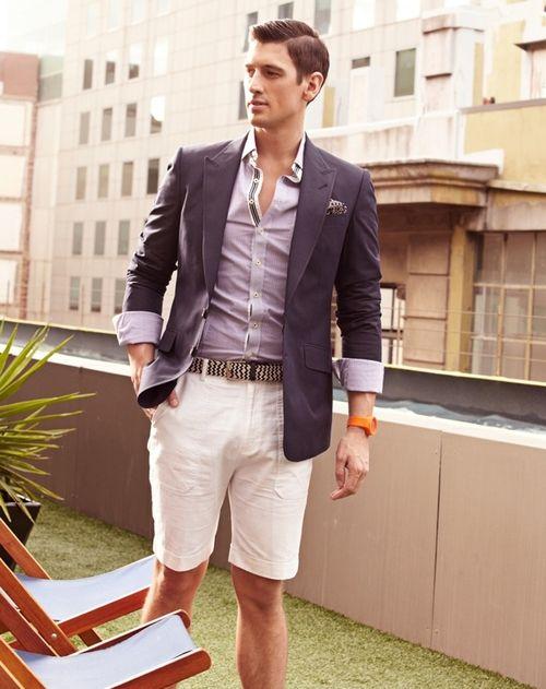 belt, blazer, shirt, shorts,