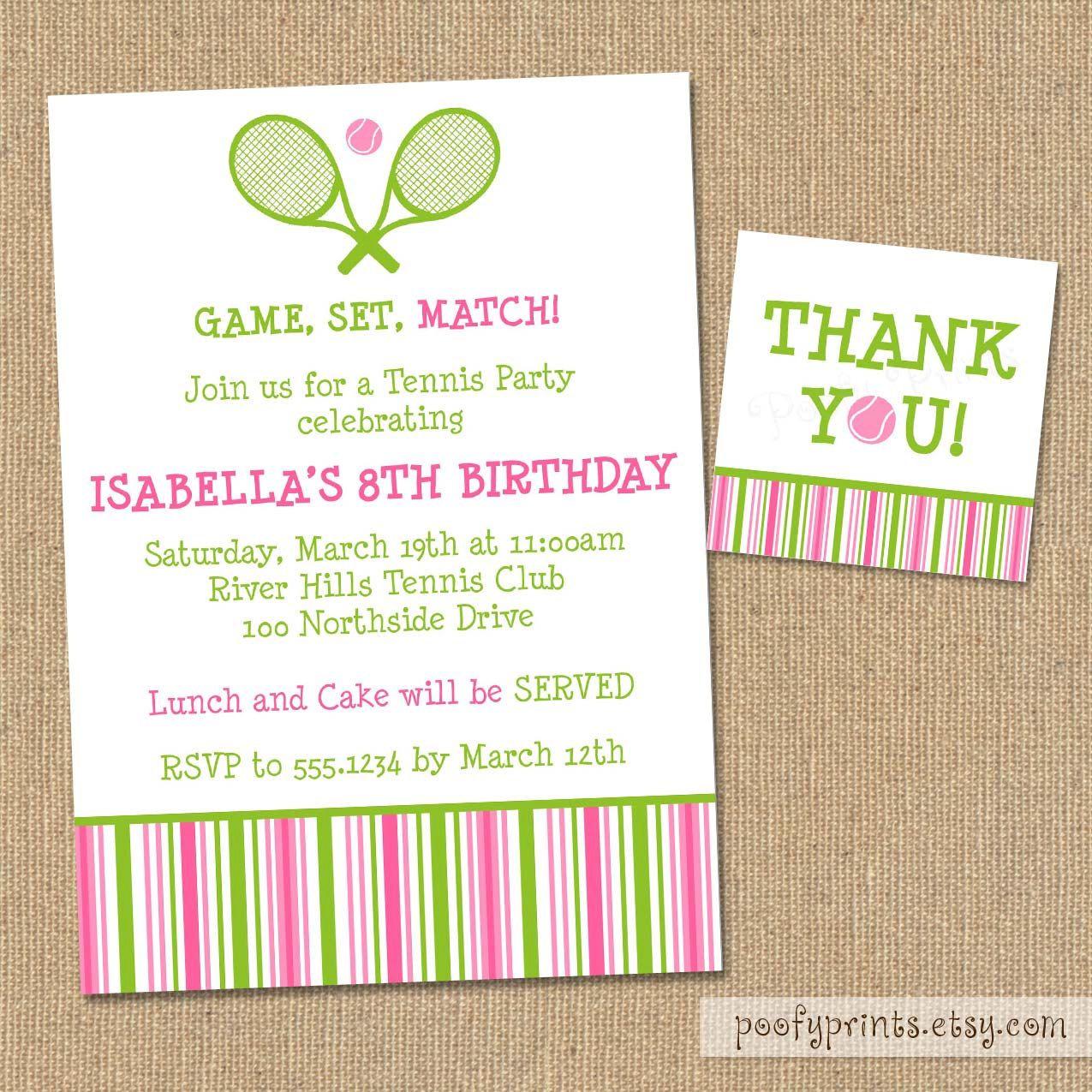 Tennis Birthday Party Invitation - DIY Printable Invitations ...