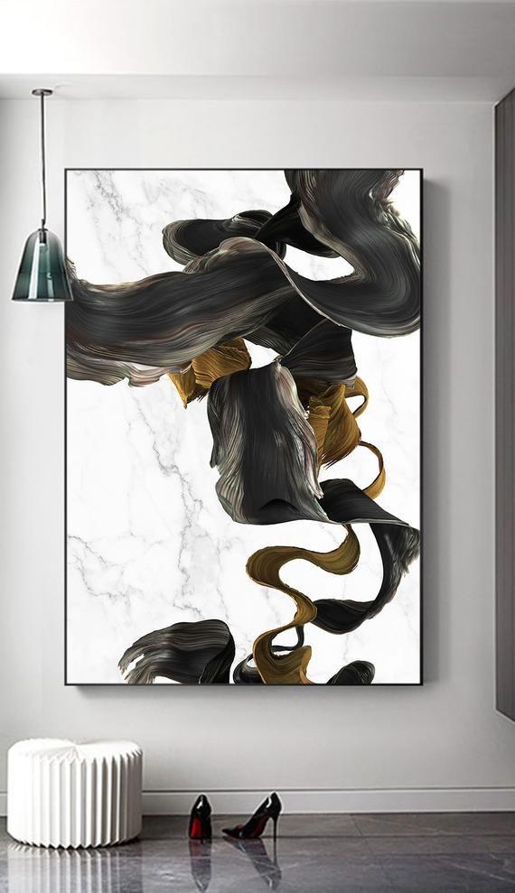 Nordische moderne Marmor abstrakte gold Linie druckbare, sofortiger Download, schwarz weiß, Linie Zeichnung Druck, minimalistische Poster, Galerie, druckbare