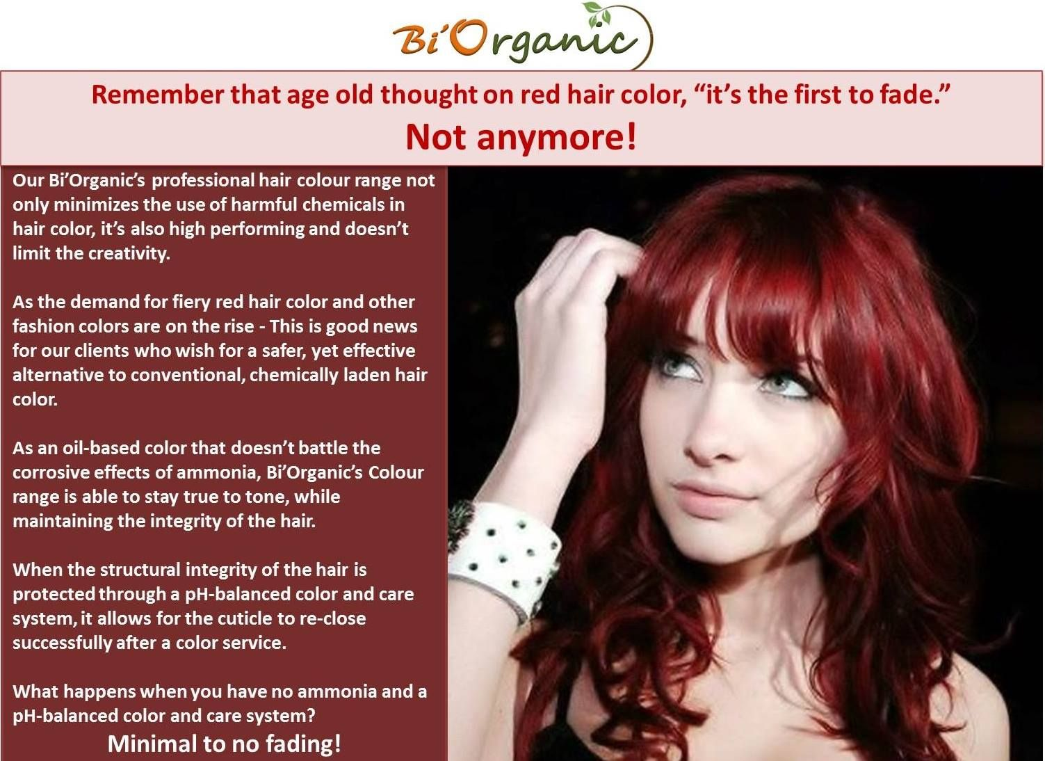 With Bi Organic Your Favourite Red Hair Colour Will Not Fade Biorganic Haircolour Trendinghaircolour Ne Red Hair Color Hair Color Professional Hair Color