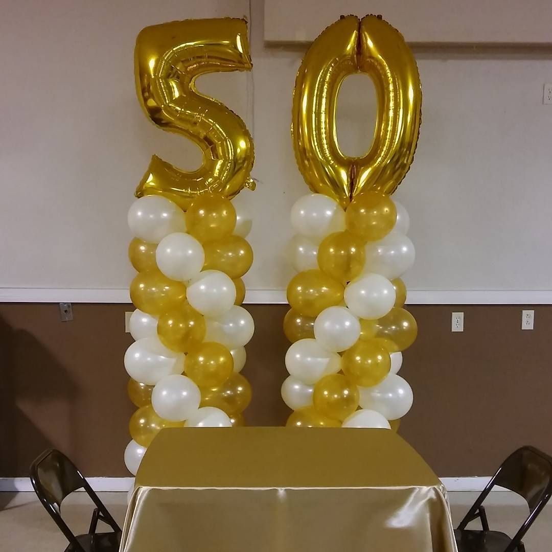 50th Wedding Anniversary Balloon Columns with Large