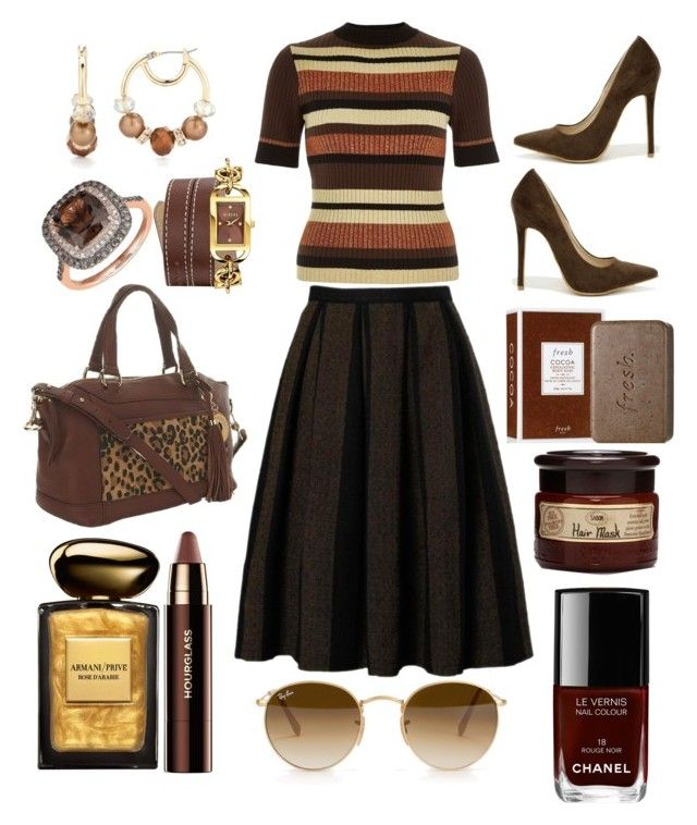 River Island Browns by pulseofthematter on Polyvore featuring polyvore fashion style River Island Shoe Republic LA Isaac Mizrahi Versus Lord & Taylor Napier Ray-Ban Hourglass Cosmetics Giorgio Armani Fresh Chanel women's clothing women's fashion women female woman misses juniors
