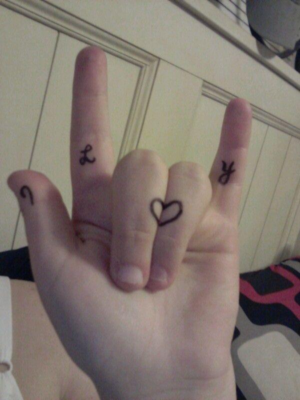 Asl Tattoos Deaf Love Sign I Love You Hand Tattoos Simple