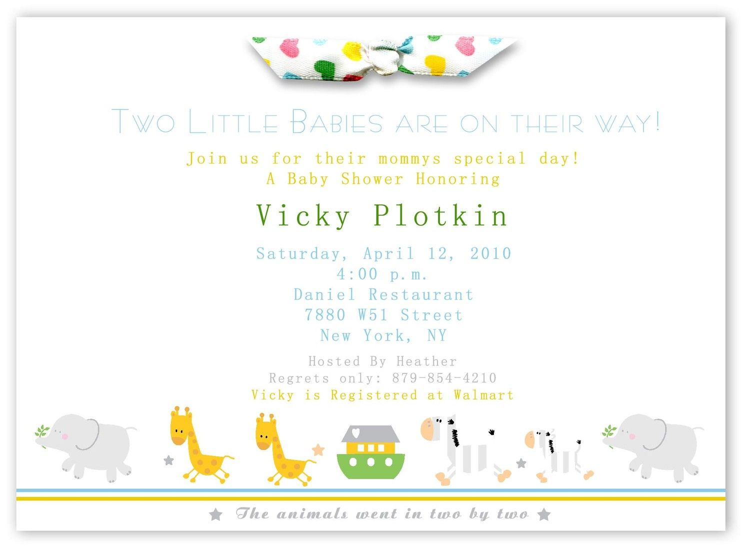 Two by Two Noahs Ark Baby Shower Invitations Twins 2800 via