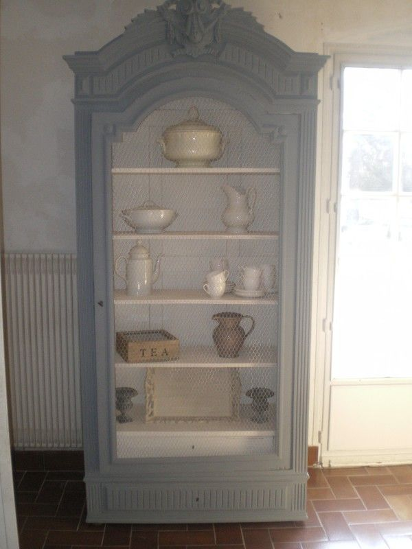 Bonneti re armoire patin e shabby chic campagne chic for Meuble bonnetiere ancienne