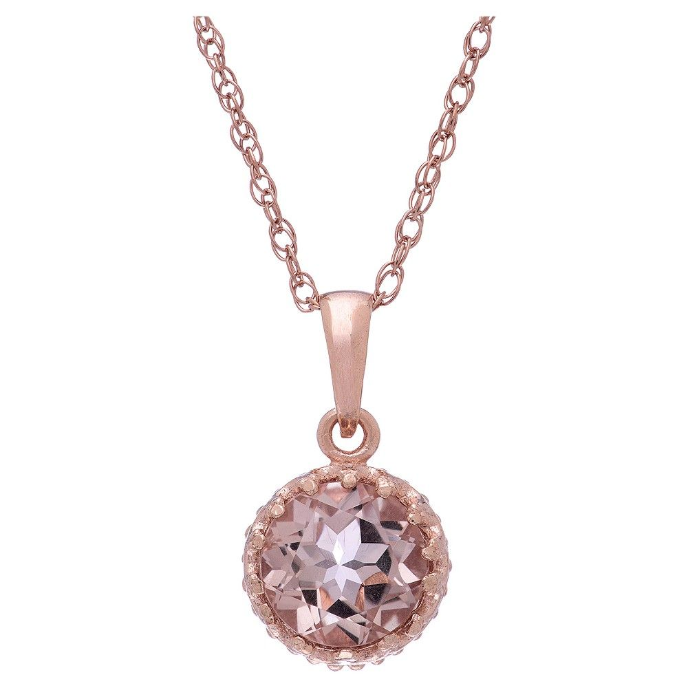 2 Tcw Tiara Morganite Quartz Crown Pendant in Rose Gold Over Silver, Women's