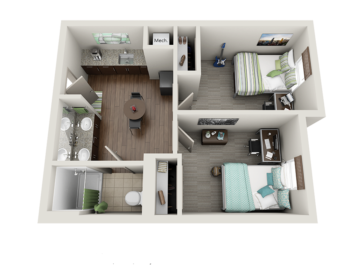 University Of Kentucky Dorm 2 Bedroom Suite Dorm Room Layouts Dorm Layout Dorm Planning