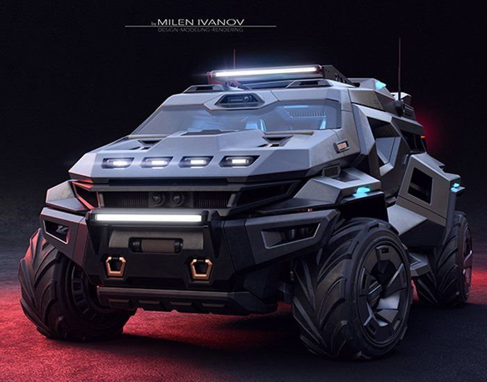 armortruck survival car concept combines the likeness of the cybertruck with the batmobile