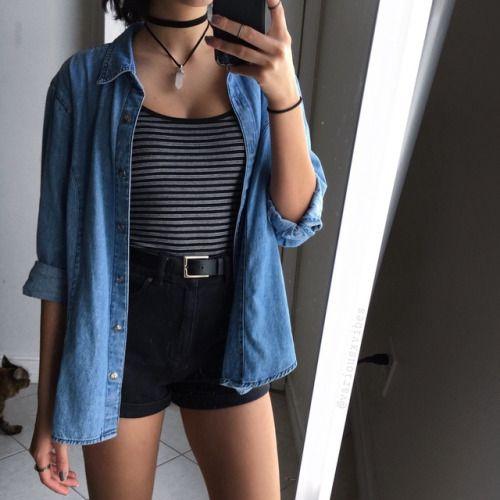 stripes and a denim shirt