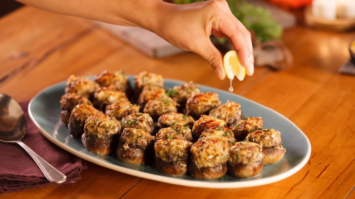 Crab cakes and stuffed mushrooms combine to make one