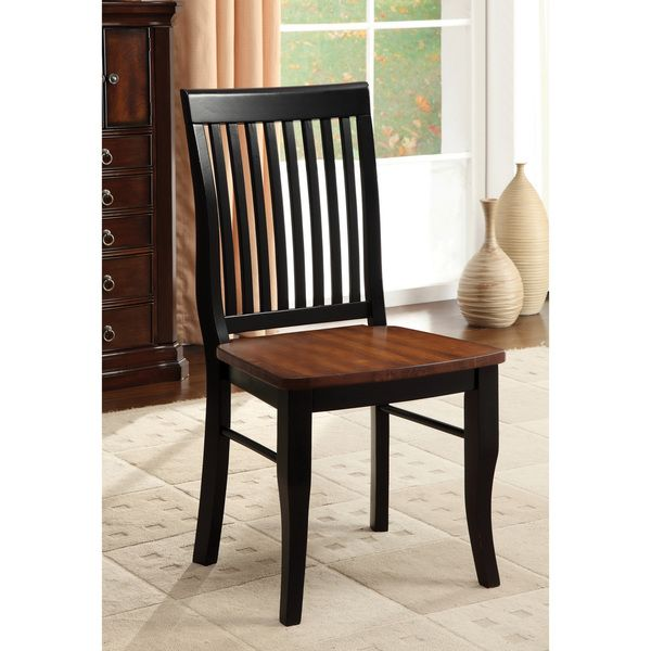 Furniture of America Nora Two-tone Solid Wood Slat-back Dining ...