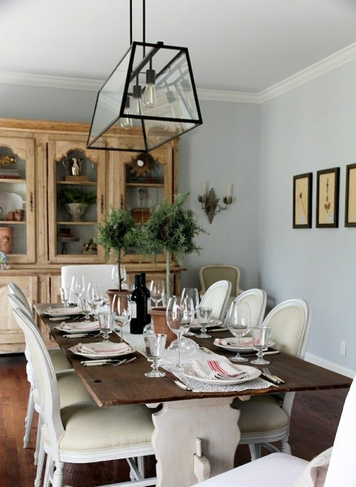Wohnideen Esszimmer Im Landhausstil Wandbilder Und Esstischlampe
