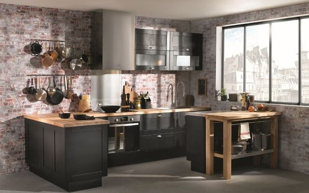 cuisine montmartre de conforama cocinas cocinas negras. Black Bedroom Furniture Sets. Home Design Ideas