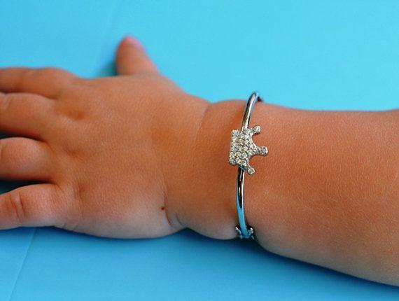 Baby Bracelet Toddler Infant Tiara Crown Silver First Birthday Gift Girl Baptism New Christening