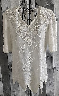 Laurence Kazar Lace Beaded Pearl Top Blouse Short Sleeve Winter White Medium Tops Black Short Sleeve Tops Beaded Lace