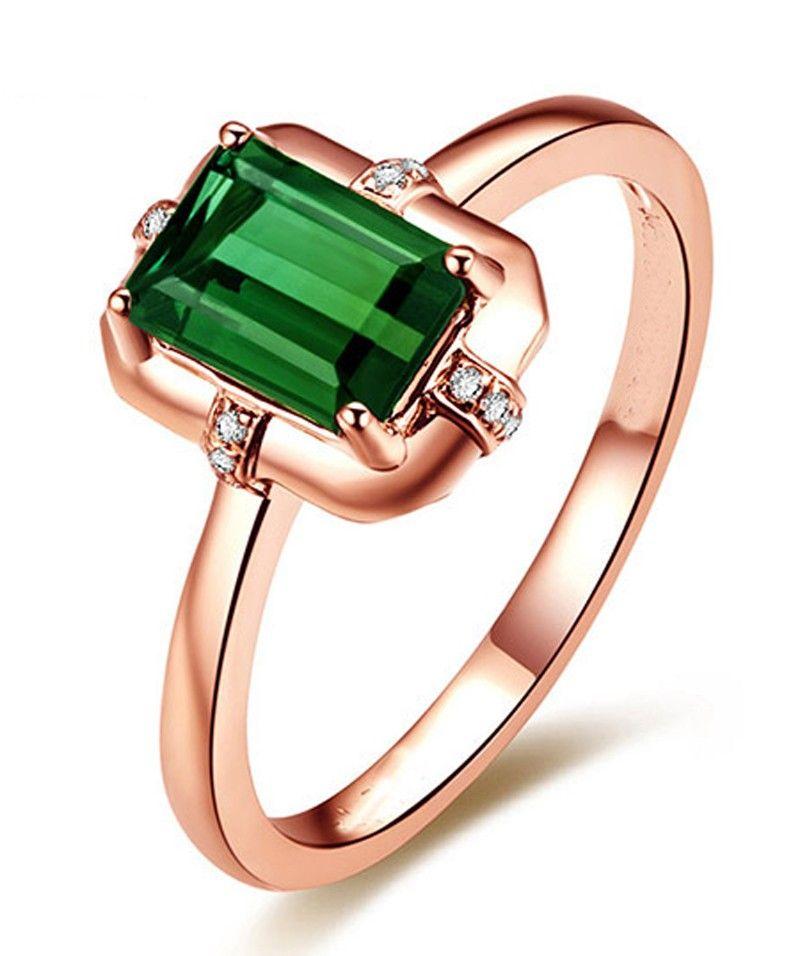 Designer 1 Carat Emerald and Diamond Engagement Ring in Rose Gold ...