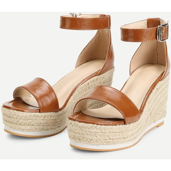 c68cde12e41 Ankle Strap Espadrille Wedges ( 35) ❤ liked on Polyvore featuring shoes