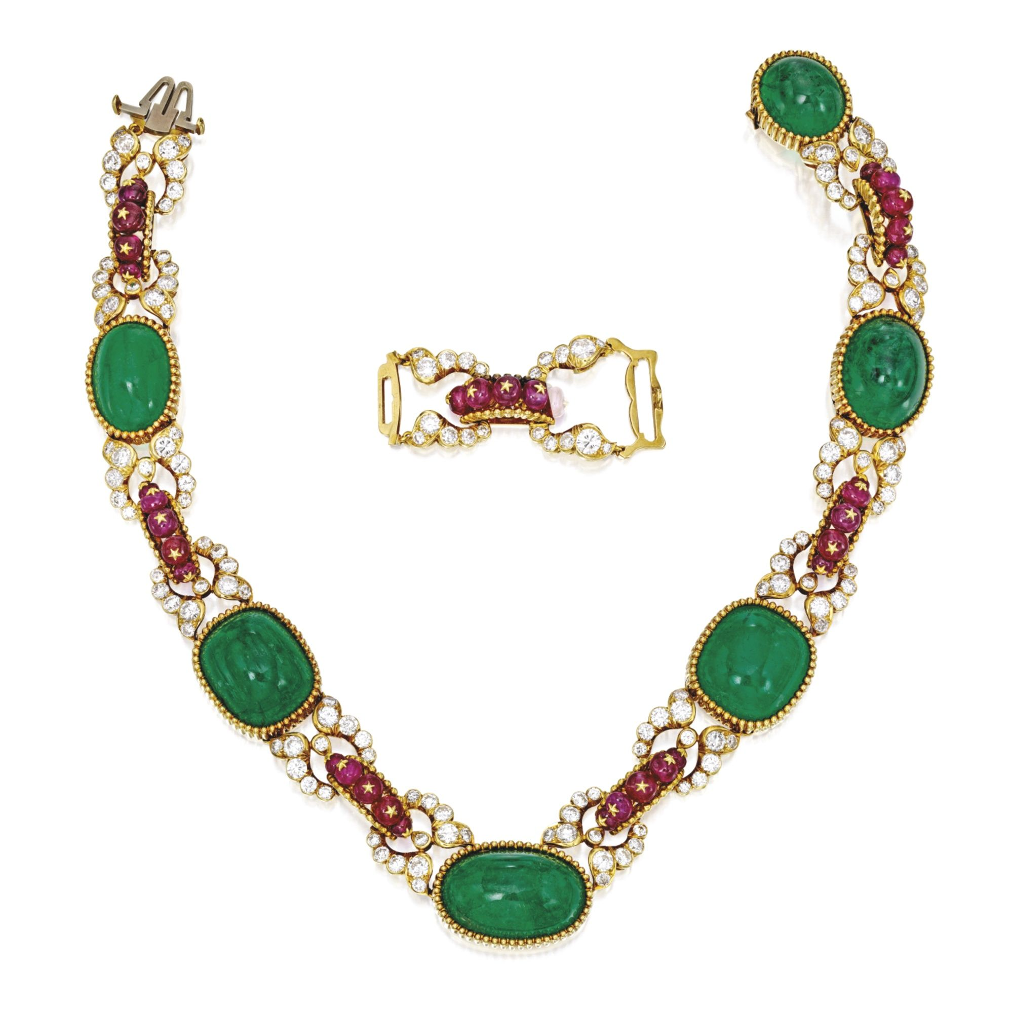 karat gold emerald ruby and diamond pendantnecklace van cleef