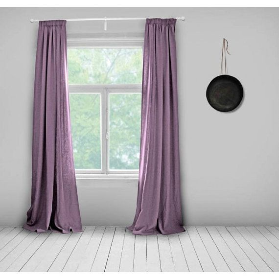 Plain Linen Curtains Lined Mauve Made To Measure Curtains
