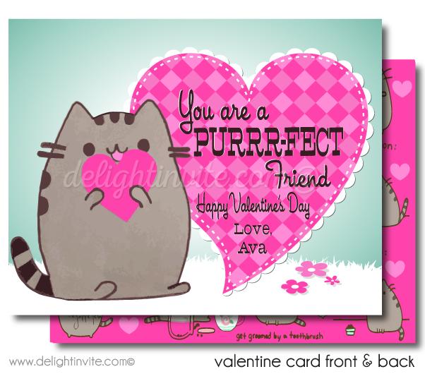 Pusheen Cat Valentine Cards Kitty Pusheen Valentines Day Cards Printed Pusheen Kitty Valentin Valentines Cards Pusheen Cat Valentine Valentine Cards Handmade