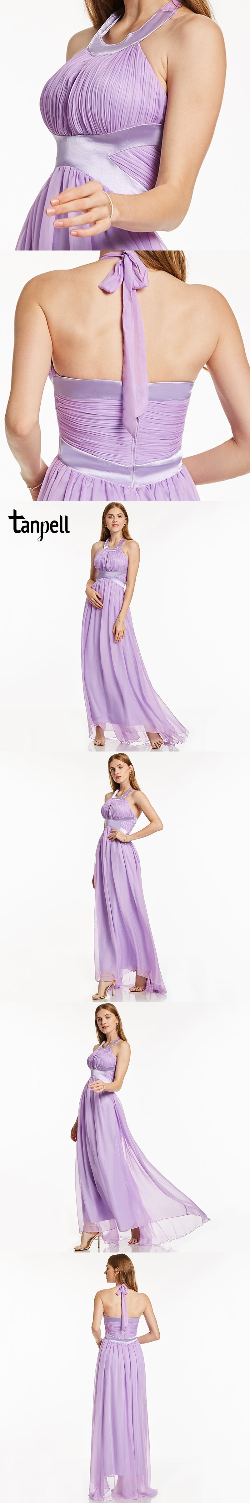 Tanpell halter long prom dress new lilac sweep train floor length a