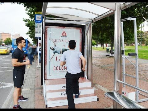 Reebok Pop Up Gyms At Bogota And Cali Bus Shelters Jcdecaux Colombia Gym Advertising Guerilla Marketing Mini Gym