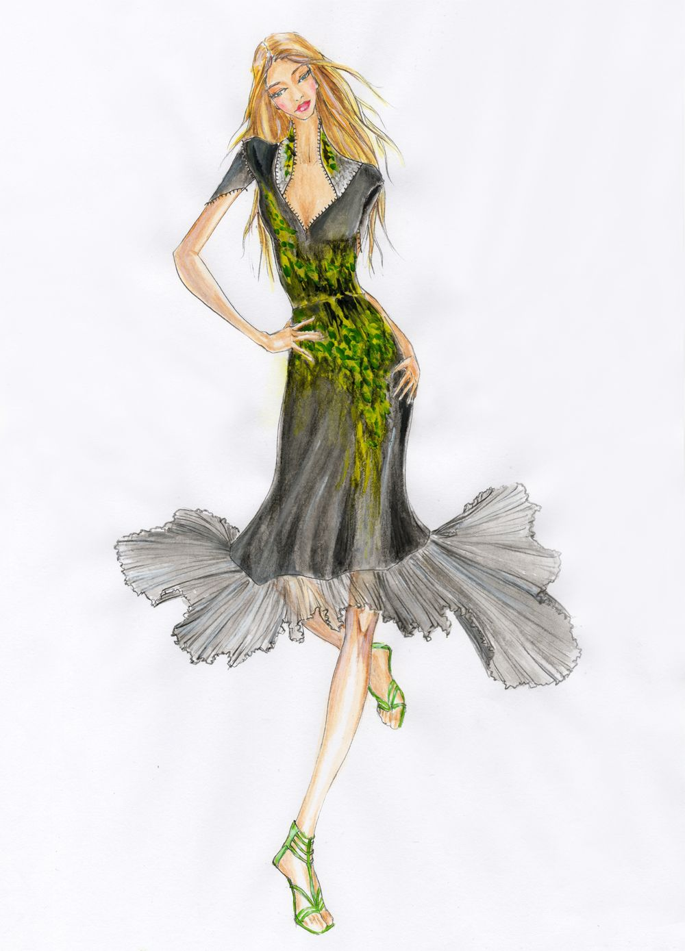 DRESS With PLEATED SKIRT Painting A Pattern Of Abstract Leaves | Fashion Illustrations ...