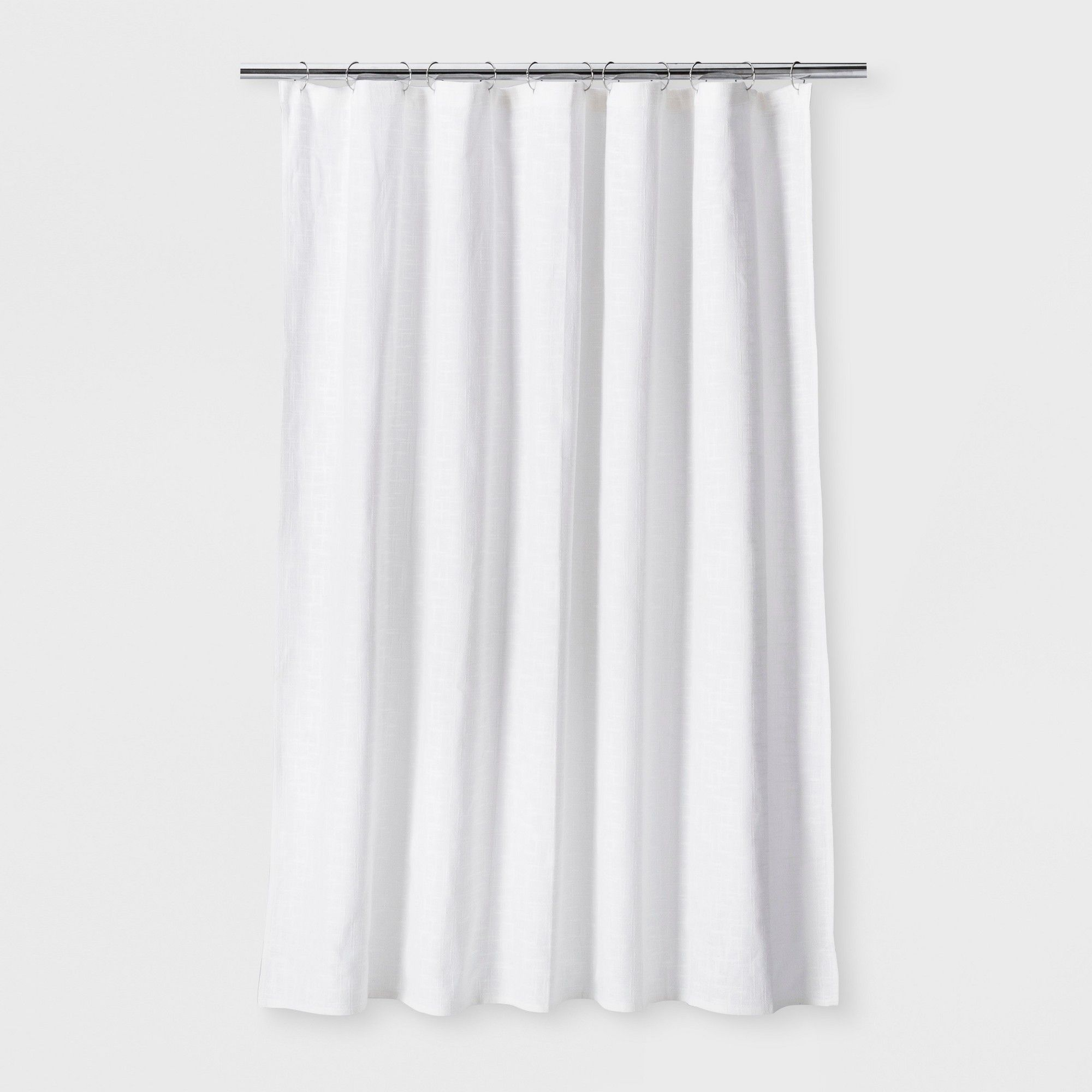 Woven Shower Curtain White Threshold Curtains White Shower