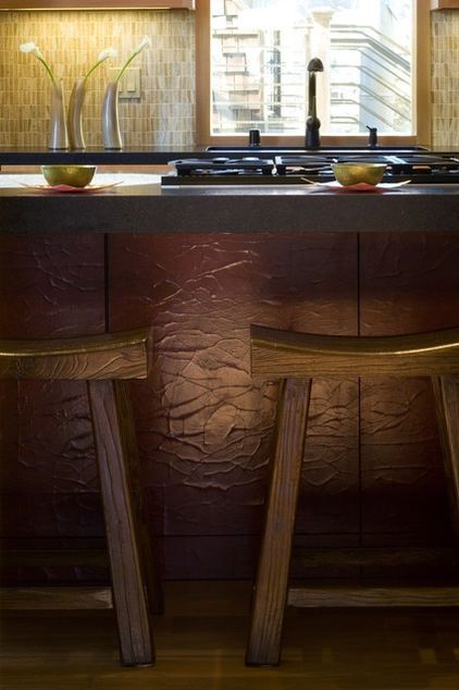 wall paper metallic houzz bar | this textured finish on the island... textured wallpaper. metallic ...