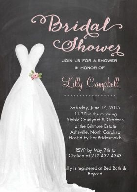 Chalkboard Watercolor Dress Invitation Bridal Shower