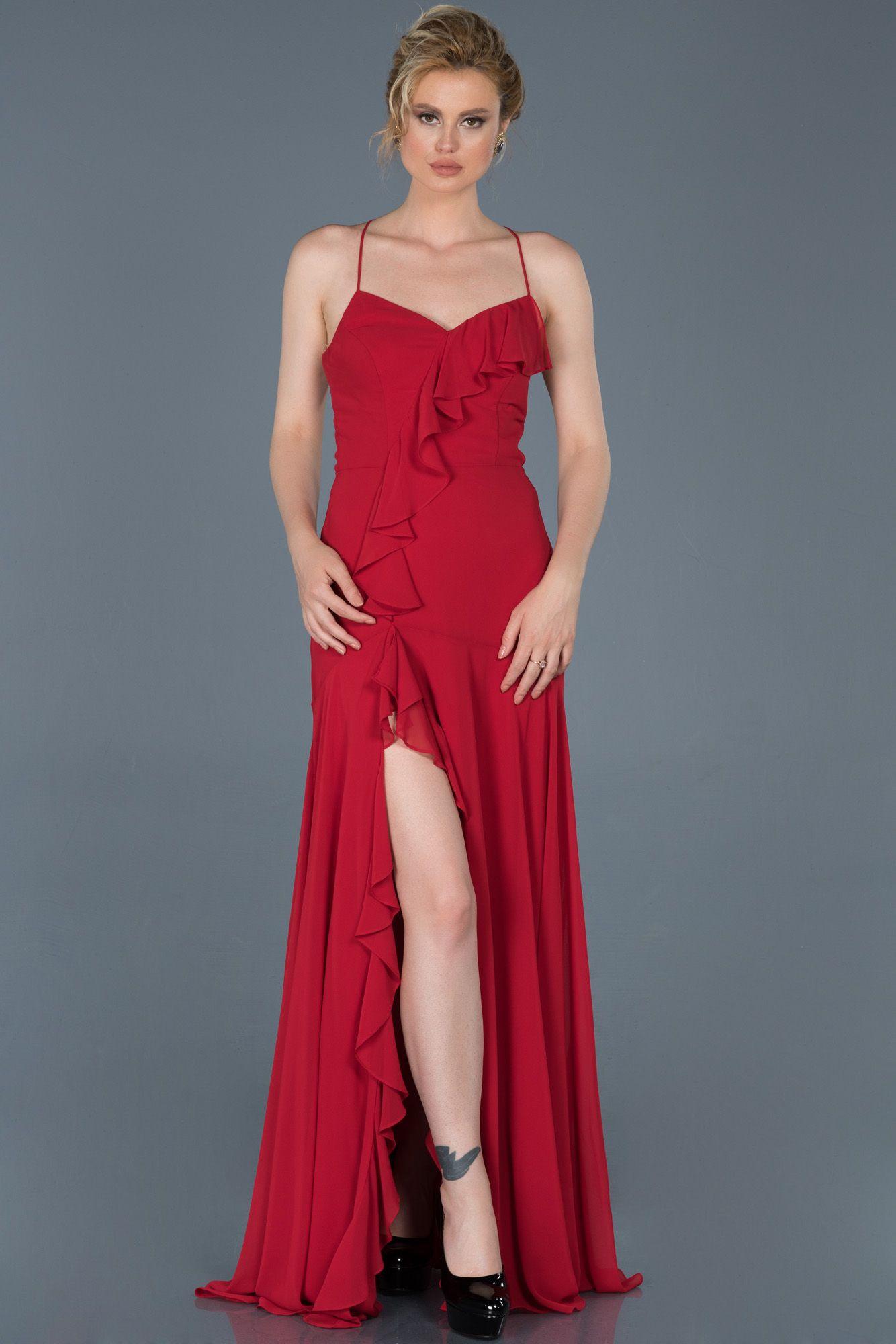 Kirmizi Uzun Bacak Dekolteli Mezuniyet Elbisesi Abu804 2020 Moda Stilleri Elbise Modelleri Elbise