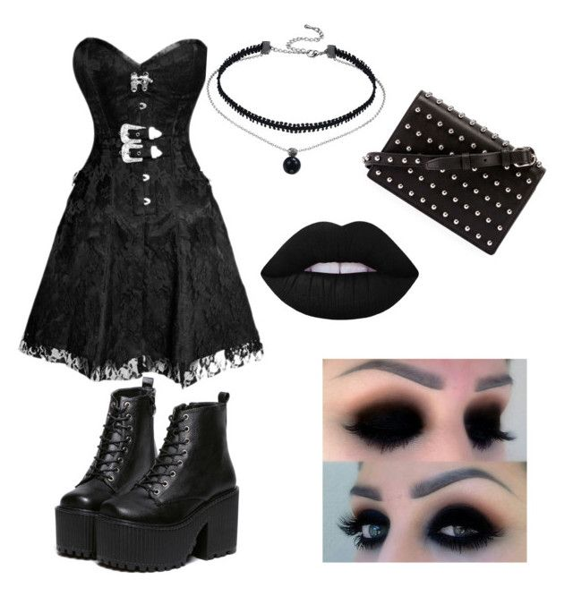"""gothic style ✝"" by sashabrugiere on Polyvore featuring Alexander Wang and Lime Crime"