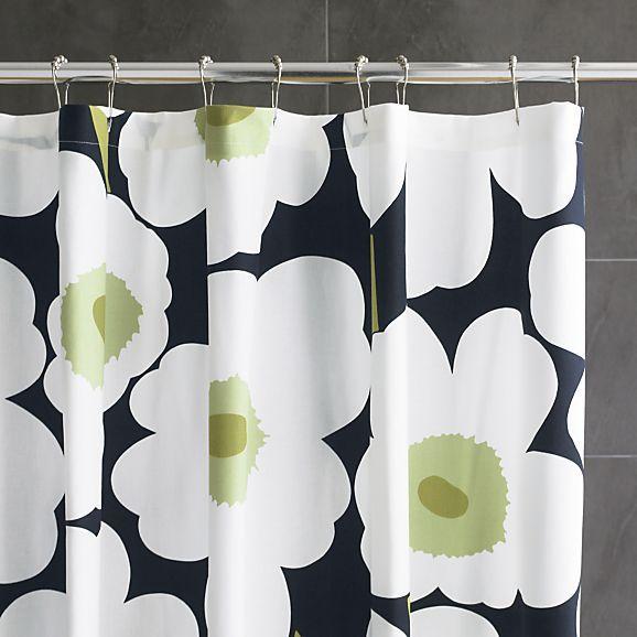 Marimekko Unikko Black Shower Curtain In Shower Curtains, Rings | Crate And  Barrel