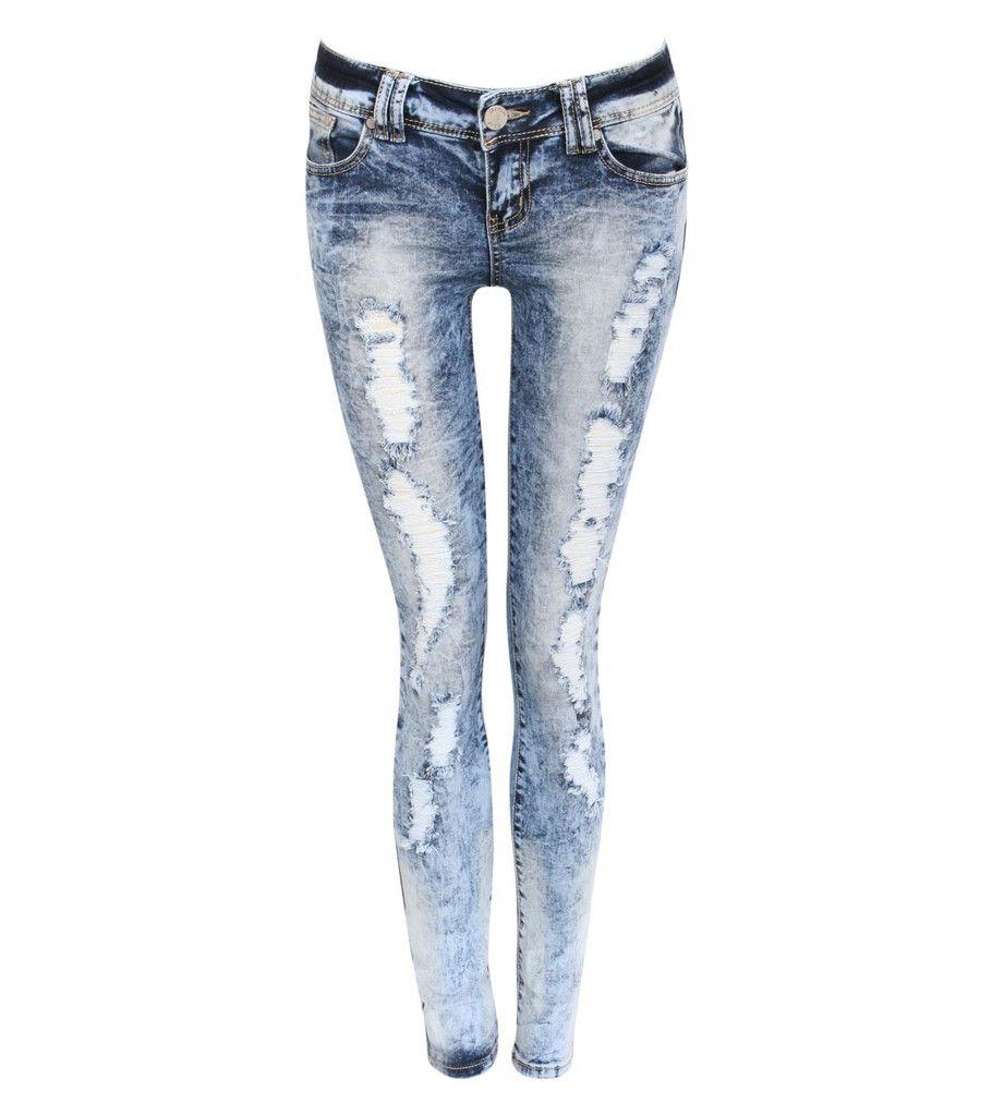 Kayleigh Denim Acid Wash Ripped Skinny Jeans in Denim £29.99 ...