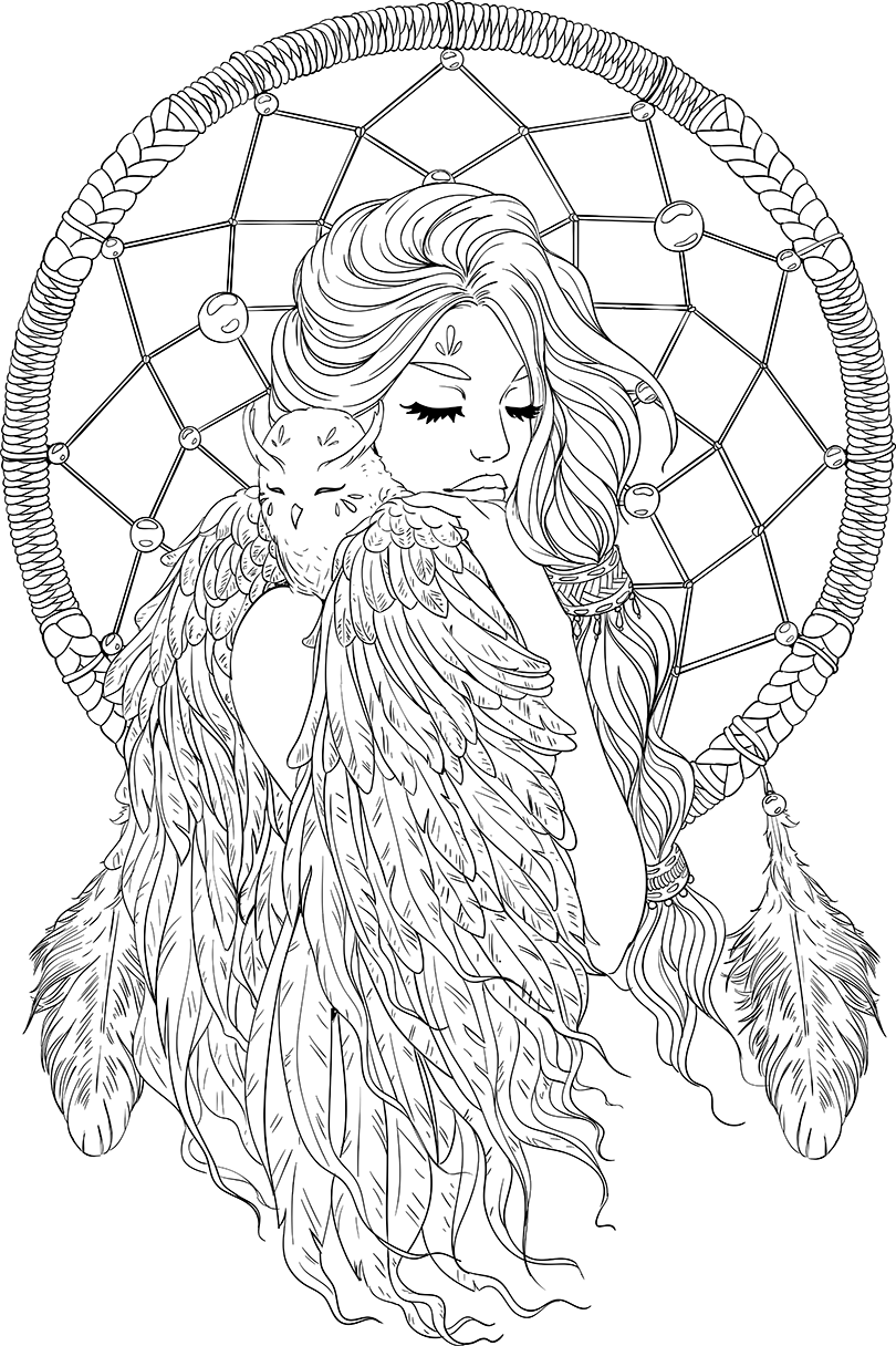 lineartsy free adult coloring page dreamcatcher lined | color me ...