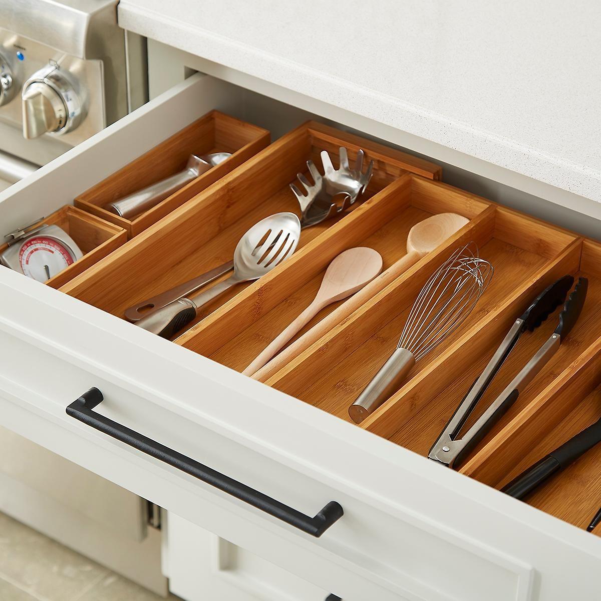 Bamboo Kitchen Drawer Starter Kit Silverware Drawer Organizer